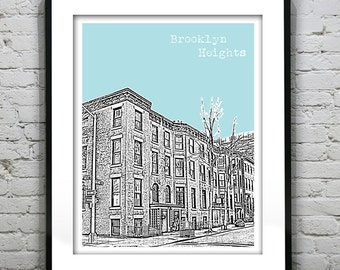 Brooklyn Heights New York Art Print New York City  Brownstones
