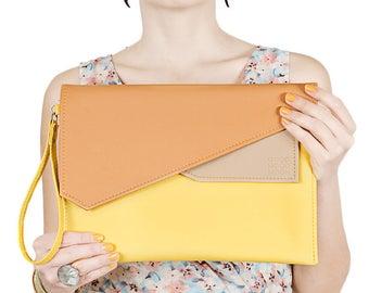 Envelope clutch Vegan leather clutch bag Ipad case Yellow clutch Large clutch 10 inch tablet case Orange clutch Vegan case iPad pro 10.5