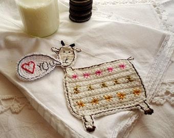 Personalized Goat Coaster - Crochet Goat Coaster - Goat Rug Mug - Animal Coaster - Gift for Mom - Gift for Her - Gift for Girlfriend