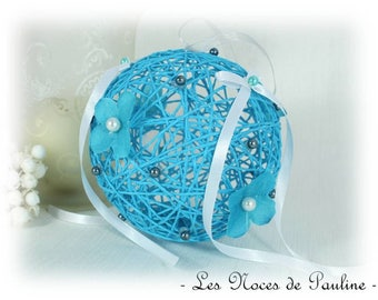 Turquoise and white wedding flower ball wedding ring