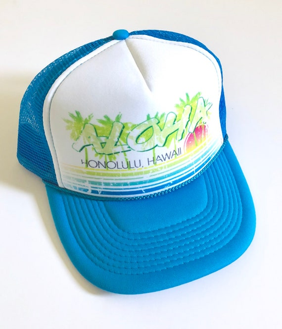 Vintage Aloha Trucker Hat Neon Blue Screen Print| Aloha Hat| Hawaii Hat| 80s Hat| ombre | Beach Hat| Vintage style| Blue Hat