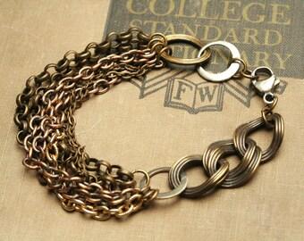 Mixed Metal Bracelet Chain Linked Bracelet Multi Chain Bracelet Bohemian  Jewelry