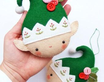 Felt PDF sewing pattern - Christmas elf - Felt Christmas ornament, hand sewing, embroidered festive decoration, digital item