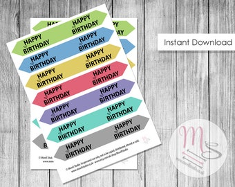 Coloured Birthday Cake Flag Toppers, Digital Download PDF File, Printable Cake Topper, Download, Birthday