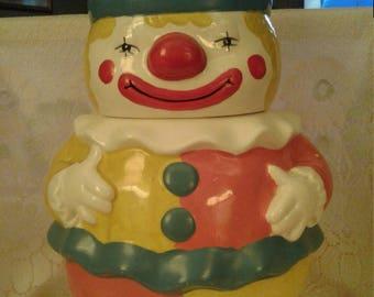 Vintage Clown Cookie Jar, Mid Century, Clown cookie Jar, Vintage Kitchen, Happy Clown, Circus Memorabilia