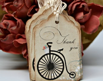 Bicycle Thank You Tags Set of 18 Old Fashioned Tricycle Thank You Tags, Vintage Favor Cards, Victorian Bike Tags
