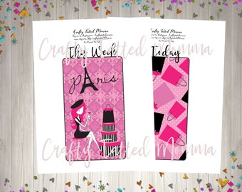 A5 Travelers Notebook printable Bookmark/ A5 Planner Bookmark/ Paris Bookmark/ Printable Bookmark / Cut Files