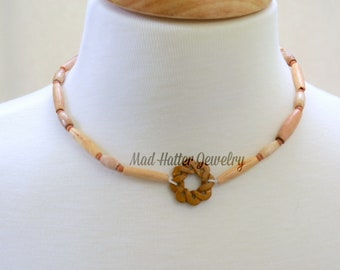 Wooden Bead Necklace with Earrings