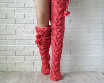 Pink knit women socks. Thigh high socks. Hand knit long stockings. Birthday gift high socks over the knee socks Women socks Long socks