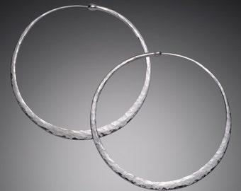 Silver Hoop Earrings // Giant 3 inch Hoop Earrings // Big Huge Sterling Silver Hoop Earrings // Unique Silver Hoops // Oversized Earrings