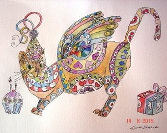 Cat Zentangle Painting, Orginal Watercolour and Ink Painting, 'Happy Birthday Cat', cat OOAK, birthday painting, zentangle cat art, gift