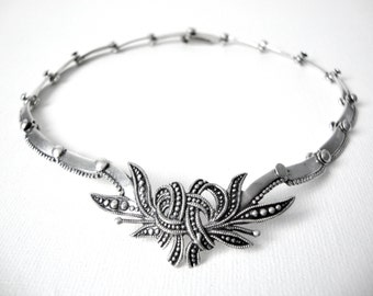 Margot De Taxco Leaf and Ribbon Spray Sterling Silver Linked Choker Necklace