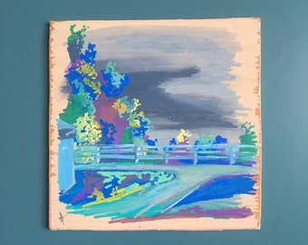 Overcast Painting on Wood - Original Art of Overcast Landscape - Grey Sky Painting - Small Abstract Landscape Art - OOAK Painting Landscape