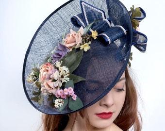 Kentucky Derby fascinator, Royal Ascot hat, Oaks derby headpiece, navy headpiece, Wedding headpiece, Couture millinery hat, derby hat,