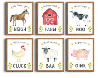 Farm Animals Nursery Prints, Farm Animals Prints, Barnyard Animals, Nursery Printables, Instant Download