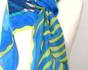 Retro flapper roaring twenties fashion scarf , art deco blue green scarf with flapper
