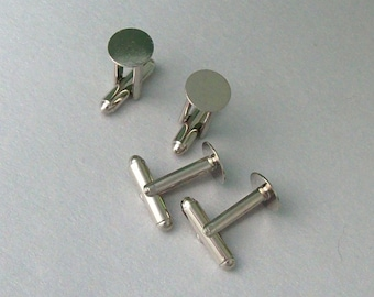 2 Pairs Silver Plated Cuff Links For Cabochons