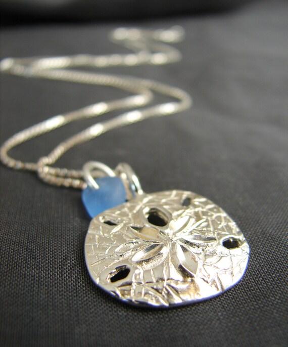 Little Sand Dollar sea glass necklace