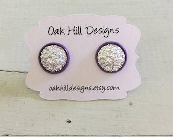 Kelly's earrings! Silver druzy earrings with purple setting-silver and purple druzy earrings-faux druzy studs