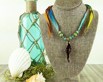 Tropical Paradise Copper Pendant Necklace: Tropical Necklace/ Ocean Necklace/ Beach Necklace/ Handmade Necklace/ Copper Necklace/ Beach Boho