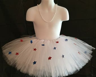 White tutu with red and blue stars, Fourth of July tutu, 4th of July tutu, Independence Day