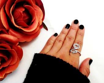 Adjustable ring, snake, for her, aluminum ring, aluminum jewelry, gift for her