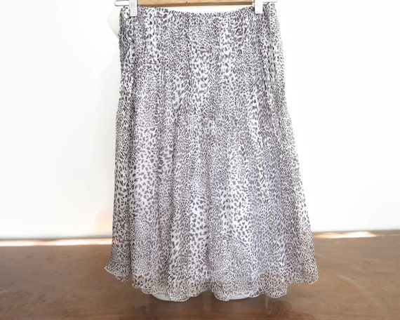 Vintage silk chiffon skirt, leopard skin pattern, fully lined, Harry Who, Australia, 1990s, small size
