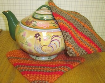 Crochet Potholder Yellow Orange and Brown - Set of 2 Potholders/Trivet