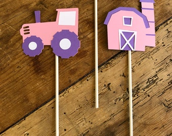 Pink Tractor Farm Cake Birthday Cake Toppers