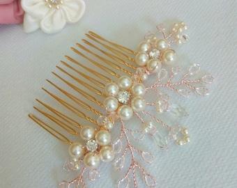 Rose Gold Hair Comb Rose Gold Wedding Hair Accessories, Rose Gold Bridal Hair Comb, Blush Hair Comb, Rose Gold Wedding Hair Comb, Hair Piece