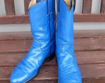 Womens size 6 JUSTIN leather cowboy boots- BLUE -roper style - Made in USA- dress up - costume - boho -womens leather boots