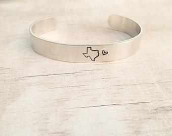 Cuff Bracelet Personalized - State Jewelry - Cuff Bracelet - Texas Bracelet