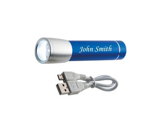 Personalised Combination of a Power Bank and a Torch Blue