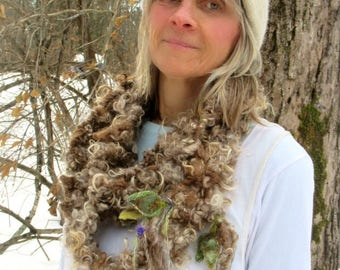 hand knit scarf rustic mohair curls art yarn soft long loop shaggy scarf -  warm forest friend