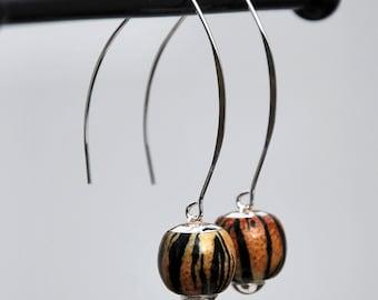 Tiger stripe earrings, tiger earrings, sterling silver earrings, animal print earrings, glass tiger earrings, glass animal earrings, funky