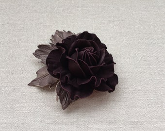 Chocolate brown leather flower brooch, Handmade flower, Leather flower, Bridesmaids gift, Mother of the bride flower, Mothers Day gift