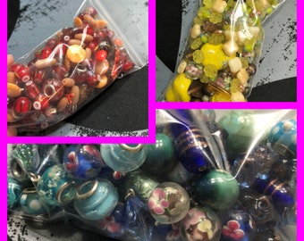 Bag of Beads, Choose your colors, Mixed Beads, Jewelry Beads, Craft Beads, Crafting beads, Bag stuffed full of beads