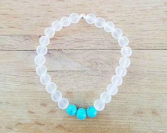 Matte Quartz and Turquoise Bracelet, Stretchy Bracelet, Matte Quartz Bracelet, Fortune Bracelet, Valentine's Day, 5.5 Inches (approx.)