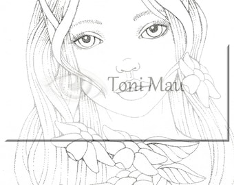Paula – Digital Download Coloring Page, Adult Coloring, Relaxing, Digi Stamp, Printable, PDF file.