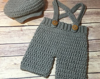 Crochet Irish donegal cap / hat & knickers / overall shorts set - Newborn - 12 mos. available!