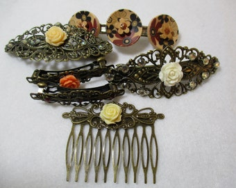 6 Vintage style Hair Barrette Clips decorated wood buttons hair comb bridal hair comb Wedding Hair Combs & Clips Hair Accessory lot HC3-148