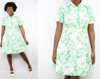 SALE - Vintage 70's Green Floral Spring Dress / 1970's Summer Dress / Women's Size Medium - Large