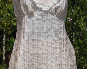Cream Stripe Camisole and French Knicker Set - Size AU16/US12/UK14