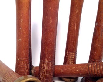 Bobbins, Nostepinne, Spool, Quills, Primitive Antique Wooden Textile, Spindles Group of 12, Shabby Chic