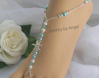 Turquoise Pearl Rhinestone Starfish Foot Jewelry Wedding Starfish Barefoot Sandal