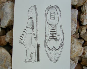 Dad Birthday or Fathers Day Card, Shoe Fathers Day Card, Ink Design Card, Best Dad Ever, Best Dad Card