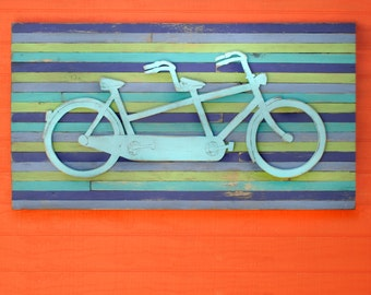 Bike Wall Decor Tandem Bicycle Art Bike Art Bicycle Wedding Gift Bicycle Built for Two Large Bicycle Wall Art Pallet Art Double Bicycle Gift