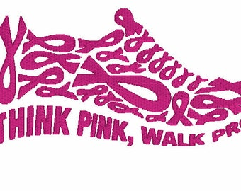 Think Pink Walk Proud Embroidery Design,Breast Cancer Awareness Ribbon Embroidery,Pink Ribbon Cancer awareness embroidery designs