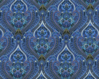 Royalty Ornate Packed Paisley fabric | Quilting Cotton | Timeless Treasures  Royalty-C4374-Blue