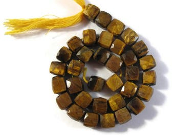 34 Tigers Eye Beads, 10 Inch Strand of Beautiful Golden Gemstones Cubes, Natural Gemstones for Making Jewelry, 8x8mm - 7x7mm (S-Te3)